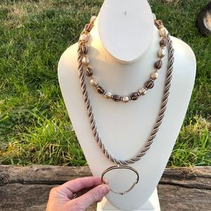 vintage choker beaded necklaces rope cuff METALLIC